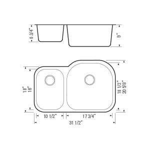 """32""""x20"""" Under-mount Double-bowl SS Kitchen Sink (KUS_MK531R)-4064"""