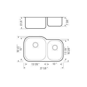 """27""""x18"""" Under-Mount Double-bowl Kitchen Sink (KUS_MK506L)"""