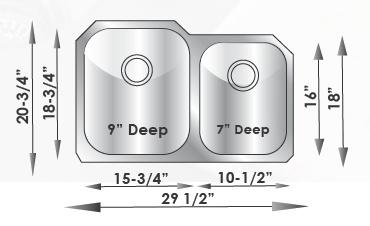 "30""x21"" Double Bowl Under-mount Stainless Steel Kitchen Sink (KUS_M3021L)"