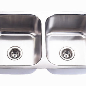 "32""x18"" Double-bowl Under-mount Stainless Steel Kitchen Sink (KUS_M3218D55)"