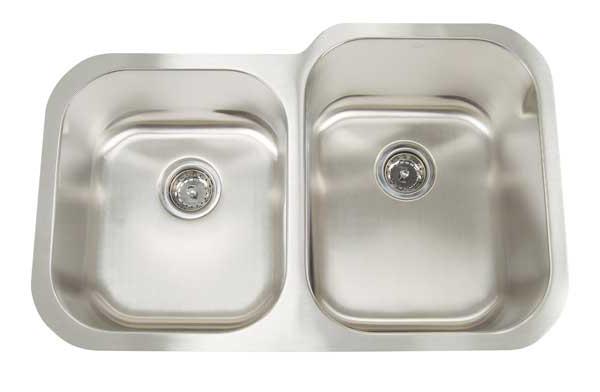 """32""""x21"""" Double-Bowl Under-Mount Premium Stainless Steel Kitchen Sink (KUS_M3221R)"""
