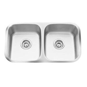 """31""""x18"""" 16 Gauge Under-mount Double Bowl (50/50) Kitchen Sink (KUS_MKQ519)-0"""