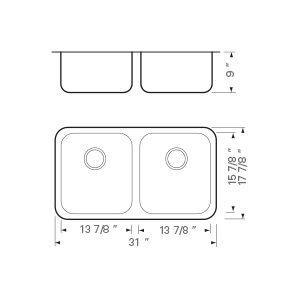 """31""""x18"""" 16 Gauge Under-mount Double Bowl (50/50) Kitchen Sink (KUS_MKQ519)"""