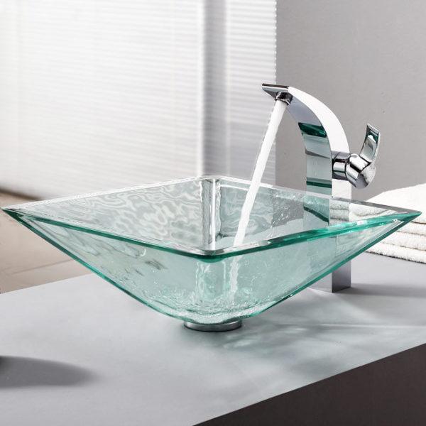 BVGJ007 - Bathroom Clear Glass Vessel Sink