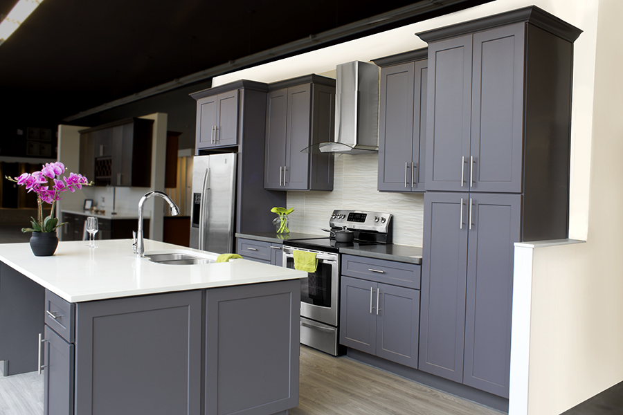 deluxe gray shaker kitchen cabinets p42   dkbc-discount