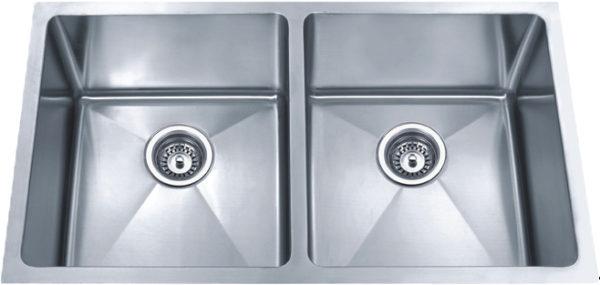 DKBC 3219 Small Radius Double-bowl (50/50) 16 Gauge SS Kitchen Sink