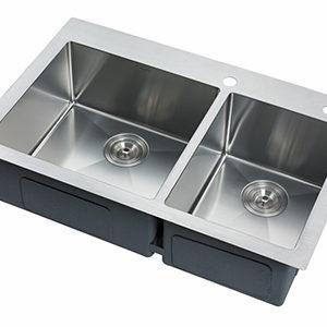 "DKBC 33""x21"" Top Mount Double Bowl (60/40) SS Kitchen Sink (KTS_R3321D64)"