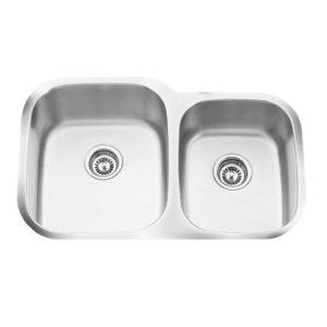 "32""x21"" Quality 16 Gauge Under-mount Double Bowl Kitchen Sink (KUS_MKQ553)"