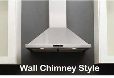 Wall mount chimney range hoods