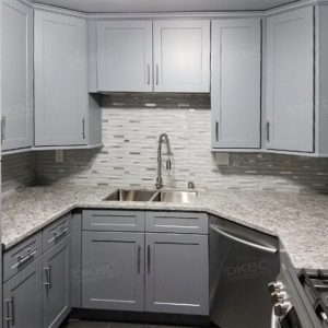 Blue Gray Shaker Solid Wood Kitchen Cabinets Q42