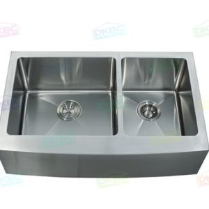 """33""""x22"""" R15 16 Gauge Double (60/40) Apron Sink"""